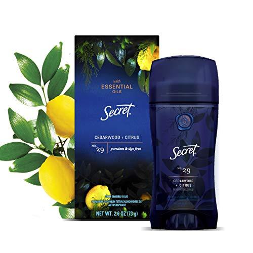 Secret Antiperspirant Deodorant for Women with Pure Essential Oils, Paraben Free, Cedarwood and Citrus scent, 2.6 oz.