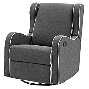 Gliding Chair Upholstered Glider for Nursery 360 Degree Swivel Recliner Chair Armrest Relaxation Leg Rest Modern Indoor Comfy Contemporary Comfortable Bedroom Furniture Gray & eBook by NAKSHOP