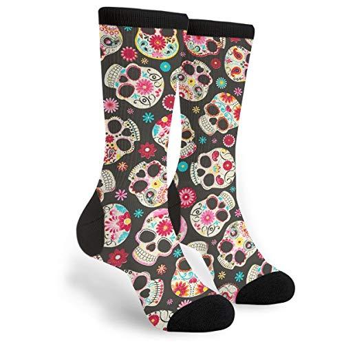 Lustige Socken mit bunten Totenköpfen