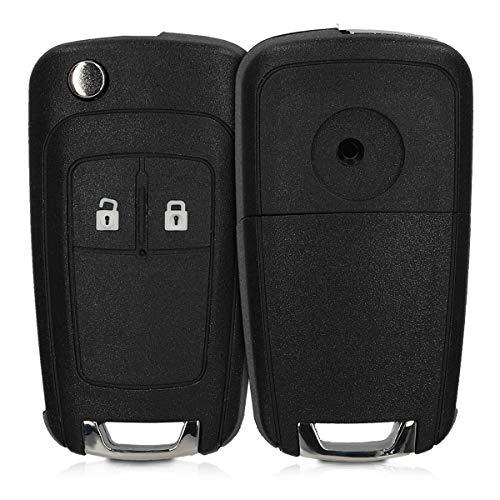kwmobile Autoschlüssel Gehäuse kompatibel mit Opel Chevrolet 2-Tasten Klapp Autoschlüssel - ohne Transponder Batterien Elektronik - Auto Schlüsselgehäuse - Schwarz