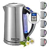 DESTRIC Edelstahl Wasserkocher mit Temperatureinstellung, 1.7L Teekessel mit LED Innenbeleuchtung, 2...