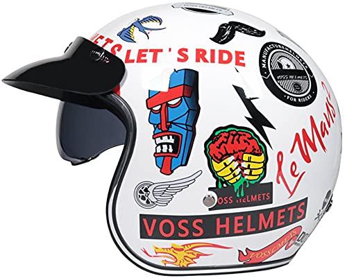 Half-Helmet Casco Moto Jet ECE Homologado -Ciclomotor Casco, Casco Moto Abierto Scooter para Mujer Hombre Adultos con Visera Retro Casco Motohelmet 2,M