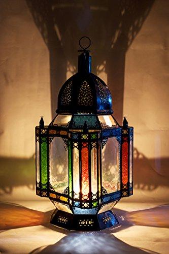 Moulati XL Oosterse lantaarn van metaal en glas, 90 cm groot, Marokkaanse tuinlantaarn voor binnen als vloerlantaarn, Marokkaanse tuinwindlicht hangend of om neer te zetten
