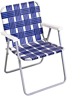 Rio Brands BY055A-0138 Woven Blue Webbing Folding Chair, Steel