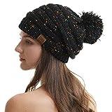 REDESS Women Winter Pom Pom Beanie Hat with Warm Fleece Lined, Confetti Black