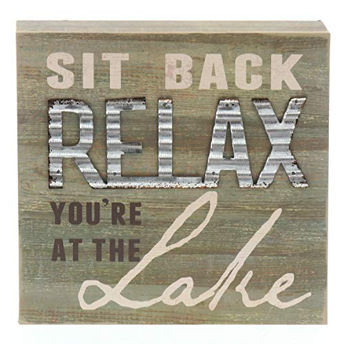 """Barnyard Designs Sit Back and Relax You're at The Lake Box Sign Decorative Rustic Wood Lake House Cabin Home Wall Decor 8"""" x 8"""""""