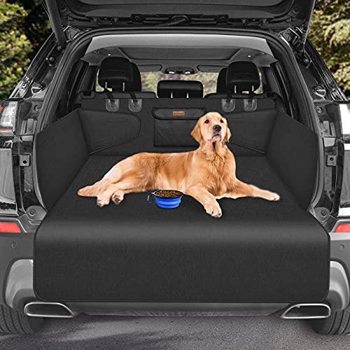 Looxmeer Kofferraumschutz Hunde mit Seitenschutz, Auto Kofferraum Universal Hundedecke, Kofferraumschutzmatte, Wasserdicht, rutschfest, Kratzfest, Kofferraumdecke für Auto Van SUV, Schwarz
