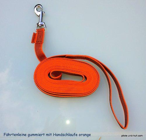 elropet rubberen hondenriem rijderlijn sleeplijn 20 m met polsriem oranje