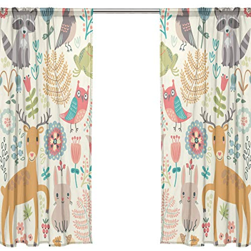 Orediy Vorhang aus Voile, 2 Paneele, niedliche Waldtiere, 40 % Verdunkelungsstange, lange Gardine, Fensterbehandlung, Schlafzimmer, Wohnzimmer, 2* 140W x 200 H