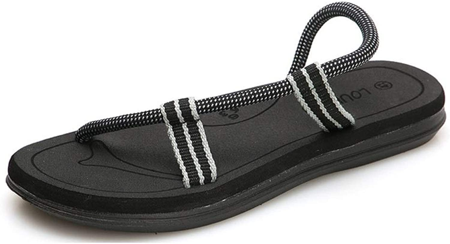 MUJUN Fashion Summer Beach Sandals for Men Or Women Outdoor Casual Lightweight Slippers Comfortable Anti-Slip Waterproof Flat Round Toe (color   Black, Size   9.5 M US)