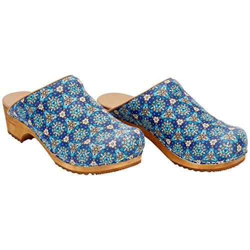 Sanita Rajan Clog   Original handgemacht   Clog mit Holzsohle für Damen, Größe: 35 EU, Blau
