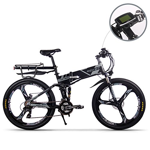 RICH BIT Bicicletta elettrica 250W RT860 Smart e-Bike 36V * 12.8 Ah LG Li-Batteria 26 Pollici Mountain Bike/MTB (Gray)
