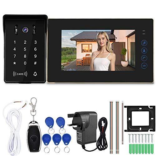 JUNYYANG Video Doorbell Sistema telefónico, WJ720D6K Video con Cable de 7 Pulgadas Video Intercomunicador Timbre Desbloqueo Remoto Cámara infrarroja 110-240V