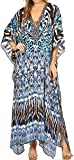 Sakkas SS1673 KF2503662LAT - LongKaftan Georgettina Ligthweight Printed Long Caftan Dress/Cover Up - Black/White/Turquoise -OS