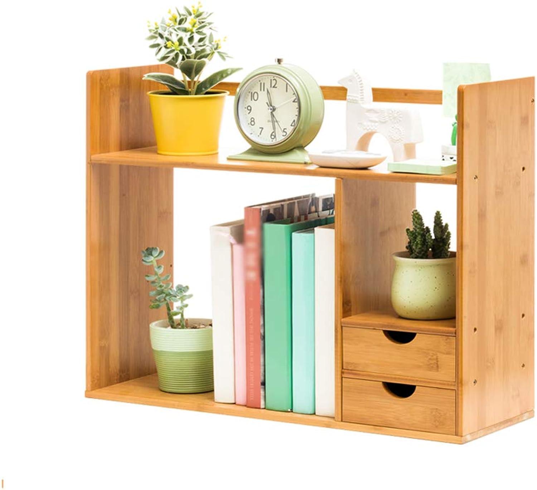 WN - Book Racks Bookshelf - Small Bookshelf with Drawers Wooden Shelves Student Small Desktop Storage Shelf Study Bedroom Simple Modern
