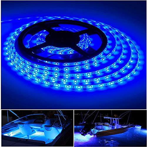 Vbakor Pontoon LED Strip Lights, 12V 5M/16.4FT Waterproof Marine LED Light Boat Interior Light, Boat Deck Light for Night Fishing, Ideal for Pontoon Fishing Boat (Blue Lights)