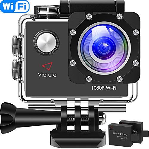 Victure AC400 Action Cam WI-Fi Full HD 1080P wasserdichte Sport Action Kamera 30M Unterwasserkamera mit 2 Zoll LCD-Bildschirm 170 Weitwinkel-Objektiv 2 Akkus und Montage-Zubehör-Kits