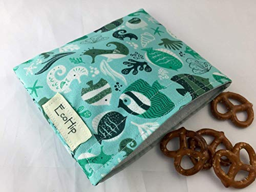 Reusable Snack Bag Eco-Friendly - Under the Sea Fishes in Aqua