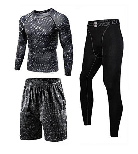 コンプレッションウェア セット メンズ トレーニング スポーツウェア 長袖 ハーフパンツ タイツ 吸汗速乾