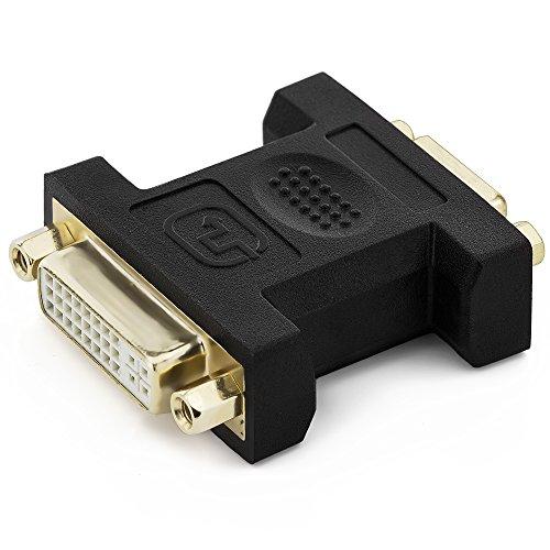 deleyCON DVI-I zu VGA Kupplung Adapter - DVI-I Buchse zu VGA Buchse - 2 Kabel verbinden VGA DVI - vergoldete Steckkontakte - Schwarz
