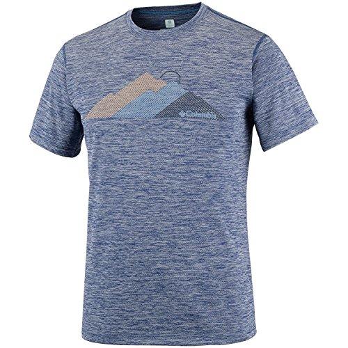 Columbia Zéro Rules T-Shirt Manches Courtes Graphique Homme, Carbon Heather/Tri Peak, FR : S (Taille Fabricant : S)