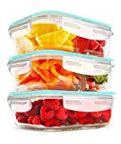 KICHLY - Recipientes de vidrio para comida - 6 piezas (3 envases, 3 transparente tapas) - apto para lavavajillas y microondas - a prueba de fugas y sin BPA - aprobado por la FDA y la FSC