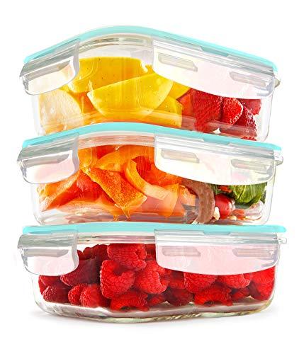 KICHLY Récipients de conservation en verre - 6 pièces (3 récipients, 3 Couvercles Transparents) - Allant au lave-vaisselle, au congélateur et micro-ondes – sans BPA – Approuvés par FDA & FSC