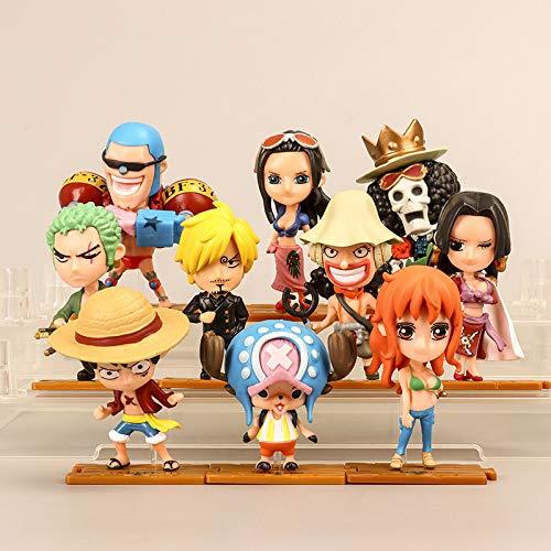 10 Stück Anime One Piece Pop-Figuren Set Kleine Figuren in Form einer Figur-Figur aus PVC Modell Figur One Piece Luffy Zoro Nami Sanji Hancock 8,5 cm