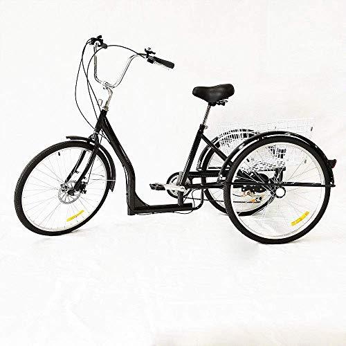 """RANZIX 26\"""" Dreirad 6 Geschwindigkeit Erwachsener Raddreirad, Erwachsene 3 Rad Fahrrad Radfahren Pedal Bike mit Weißer Korb für Outdoor Sports Shopping (Schwarz)"""
