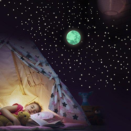 Wandkings Adesivi Fluorescenti da Parete, Motivo: Luna con 250 Stelle, brillano al Buio