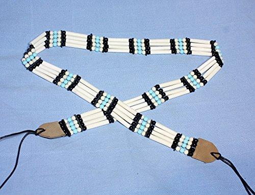 Hejoka-Shop Indianer GÜRTEL Weiss 85-90 cm. Plus Bänder Bone Hairpipes echte Knochenröhrchen Knochengürtel Perlen