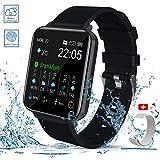 Smartwatch, Zagzog 1,54''Vollfarb-Touchscreen 15 Tage Wettervorhersage GPS-Tracking IP68 wasserdicht Fitness Sportuhr Unisex mit Schrittzähler Herzfrequenz Blutdruck Schlafüberwachung für...