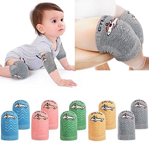 Tacobear 5 Paar Baby Knieschoner Krabbelschoner Krabbelhilfe anti-Rutsch Verstellbarer Elastische Einhorn Kniebandage Knieschützer für Kinder