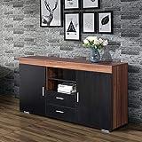 mecor Sideboard Kommode Schwarz Tischschrank Schrank Esszimmer 2 Türen / 2 Schubladen Wohnzimmermöbel Küchen Storage aus Holzwerkstoff in Nussbaum