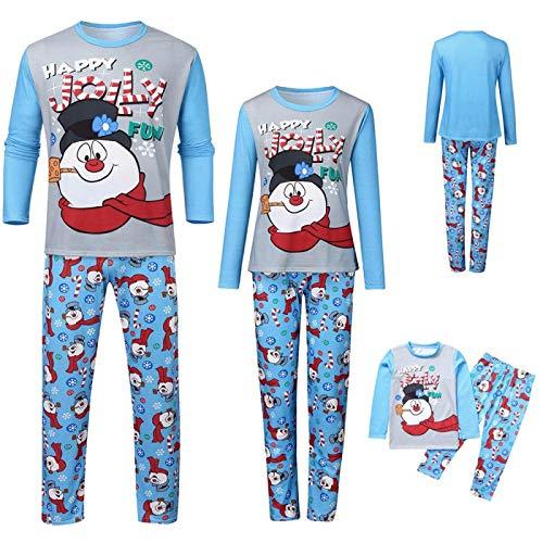 Pijamas Familiares De Navidad,Conjunto De Pijamas Navideños A Juego Con La Familia Navidad Lindo Muñeco De Nieve Estampado Ropa De Dormir Azul Ropa De Dormir De Manga Larga Para Mujeres Hombres N