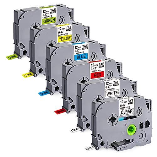 6 X Compatiblr per Brother Tape 12 mm 0.47 laminato TZe 131 231 431 531 631 731 12 mm x 8 m per Brother P-Touch Cube Plus PT 1000 1010 H105 H110 D400 D210 VP