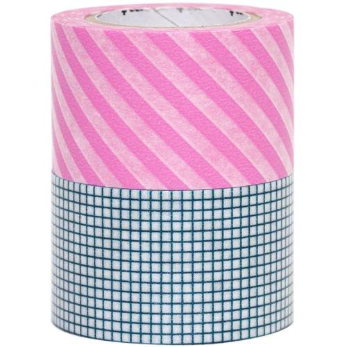 Mt Masking Tape, I Hougan Washi-Nastro decorativo, motivo a righe, colore: blu/rosa