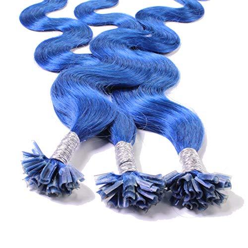 Hair2Heart 25 x 0.5g Extension Capelli Veri Cheratina - 50cm, Colore #Blu, ondulato