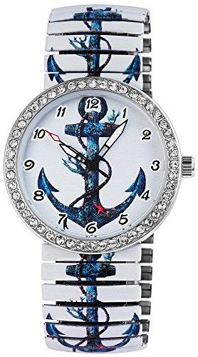 Excellanc Damen Armbanduhr Anker Strassbesatz Zugband Elegant Analog Quarz 1700007