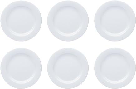 Preisvergleich für Teller Porzellan Weiß Speiseteller Suppenteller Dessertteller Pastateller Schüssel 6 Stück Set Modell-Auswahl, Modell:19 cm Ø Teller flach