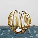 45532rr Kreative Metal Crafts geformte Eisen Kerzendekoration-romantische Restaurant Tischkerzenhalter Dekoration (gelb) (Color : Gold)