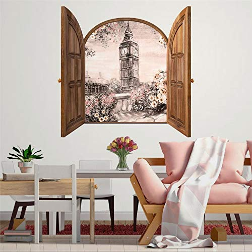 DONL9BAUER Romantic London Big Ben Vinyl Stickers Removable Wall Decor Window Frame 90cm 3D Smashed Wall Art Mural Poster Home Decal Skin for Kids Nursery Bedroom Living Room