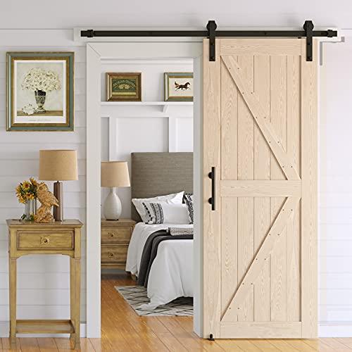 THLYNSAM 32 x 84 Inches Solid Wood Barn Door with 6ft Sliding Barn Door Hardware Kit, Handle & Lock & Floor Guides, Pre-Drilled Holes, Unassembled Door Panel for DIY