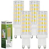 MENGS Pack de 4 Bombilla LED G9 10W (80W Bombilla Halógena Equivalente) Blanco Cálido 3000K, 800LM [Clase de eficiencia energética A+]