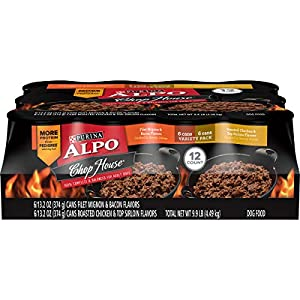 Purina ALPO Wet Dog Food Variety Pack, Chop House Filet Mignon Flavor & Roasted Chicken Flavor – (12) 13.2 oz. Cans