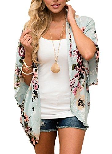 PRETTODAY Women Floral Kimono Loose Half Sleeve Shawl Chiffon Casual Coat (L, Mint)