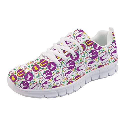 HUGS IDEA Casual Outdoor Sneakers Mesh Atmungsaktiv Leicht Athletisch Lustig Frisur Design Walking Laufen Sportschuhe-Größe: EU 41