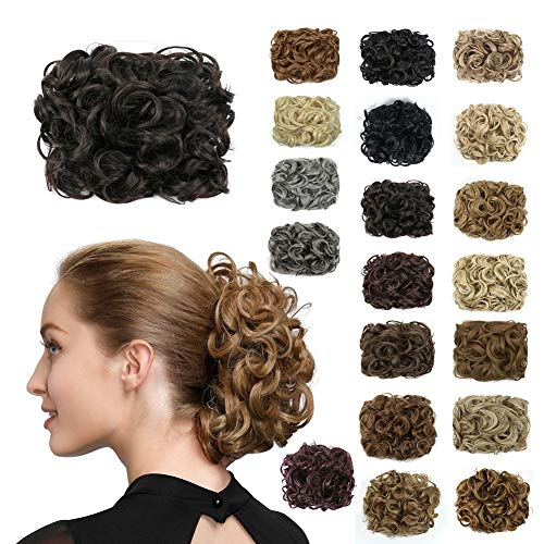 DIIYIV Hair Buns Hair Piece,Messy Curly Fake Hair, Hair Combs Clip Ponytail Extension,Hairpieces Textured Curl Hair Bun Extensiones, Scrunchie Extentions Curls Bands(Color:Q8-2#)
