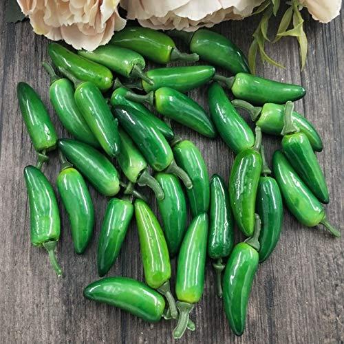 Xinger 10 stks kunstmatige plastic simulatie chili peper planten corsage zetten fruit groenten voor nieuwjaarsdecoratie, groene peper (met p