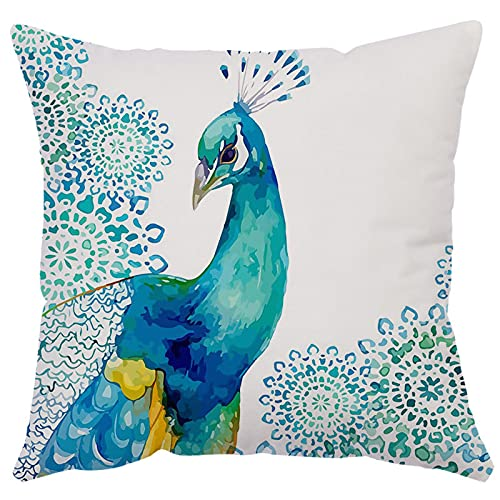 MissW Funda De Almohada Decorativa con Estampado De Pavo Real De Pájaro Simple Sin Núcleo De Almohada Cremallera Y Funda De Cojín Lavable Adecuada para El Sofá del Dormitorio